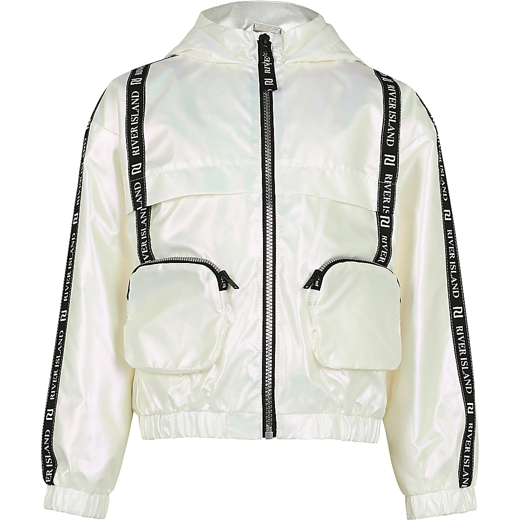 Girls white 3D pocket bomber jacket
