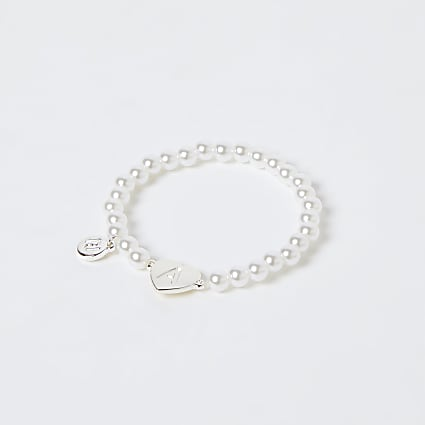 Girls white A initial bracelet