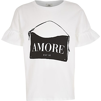 Girls white 'Amore' handbag t-shirt