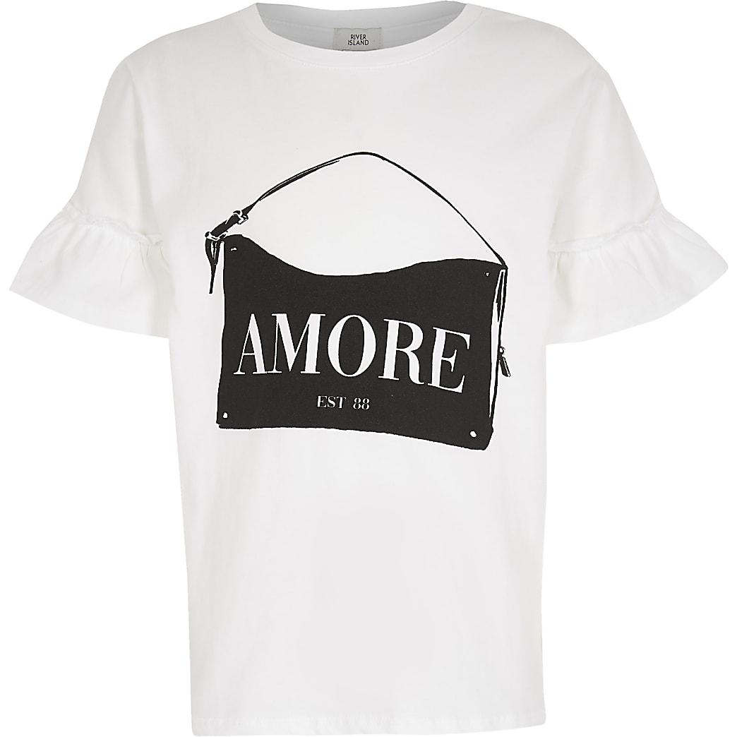 Girls white 'Amore' handbag t-shirt
