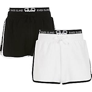 RI – Laufshorts in Weiß und Schwarz für Mädchen, 2er-Pack