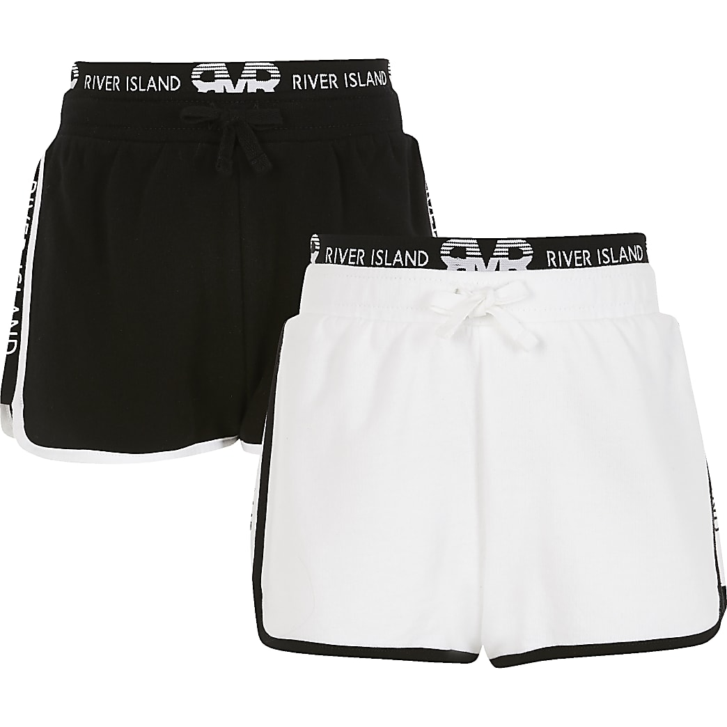 Girls white and black RI runner shorts 2 pack