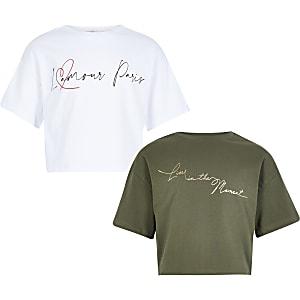 Girls white and khaki printed T-shirt 2 pack