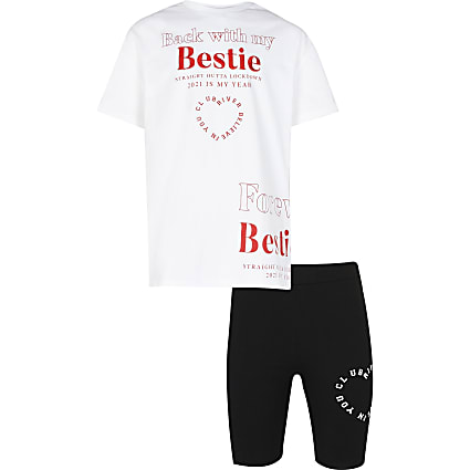 Girls white 'Back with my bestie' outfit