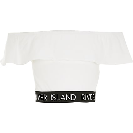 Girls white bardot frill RI cropped top