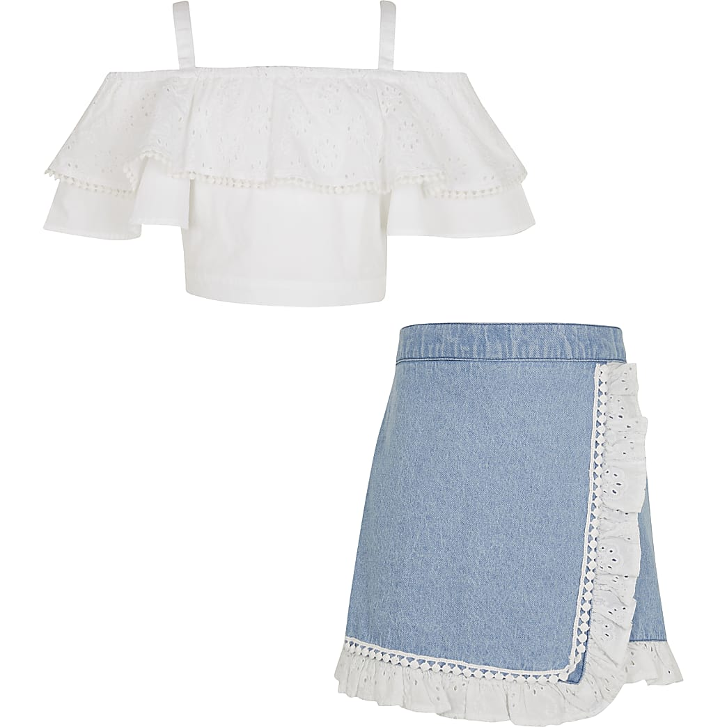 Girls white bardot top and skirt outfit