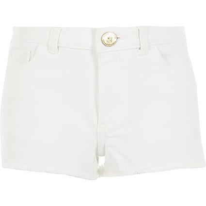 Girls white Becca relaxed shorts
