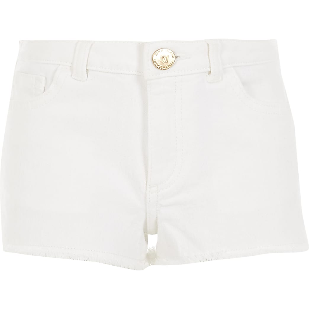 Girls white Becca relaxed shorts