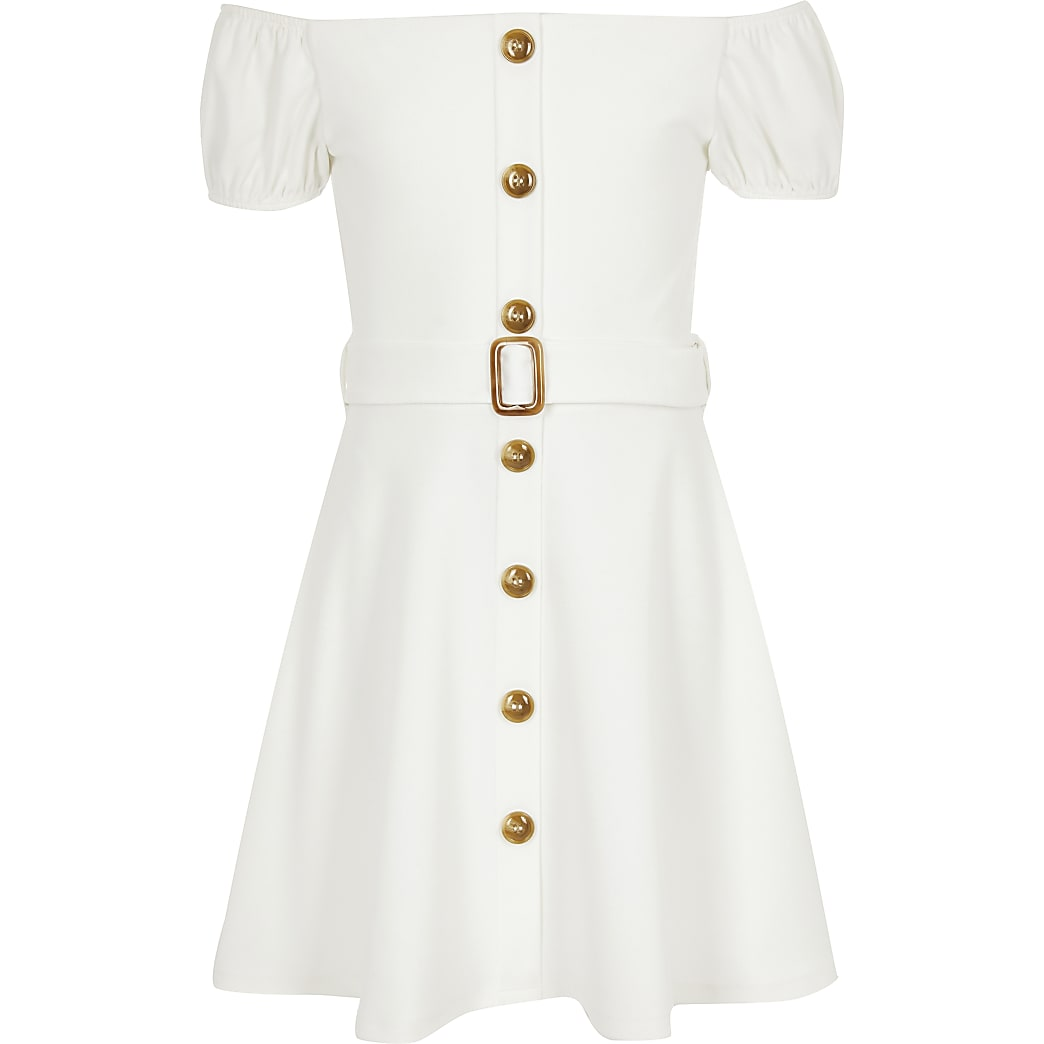 Girls white belted bardot dress