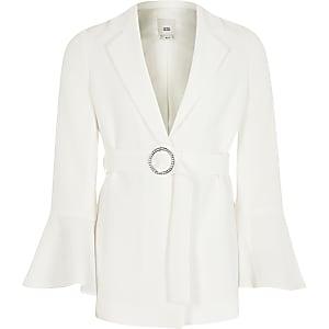 Weißer Blazer mit Taillengürtel und langen Rüschenärmeln für Mädchen