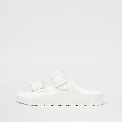 Girls white Birkenstock double strap sandal