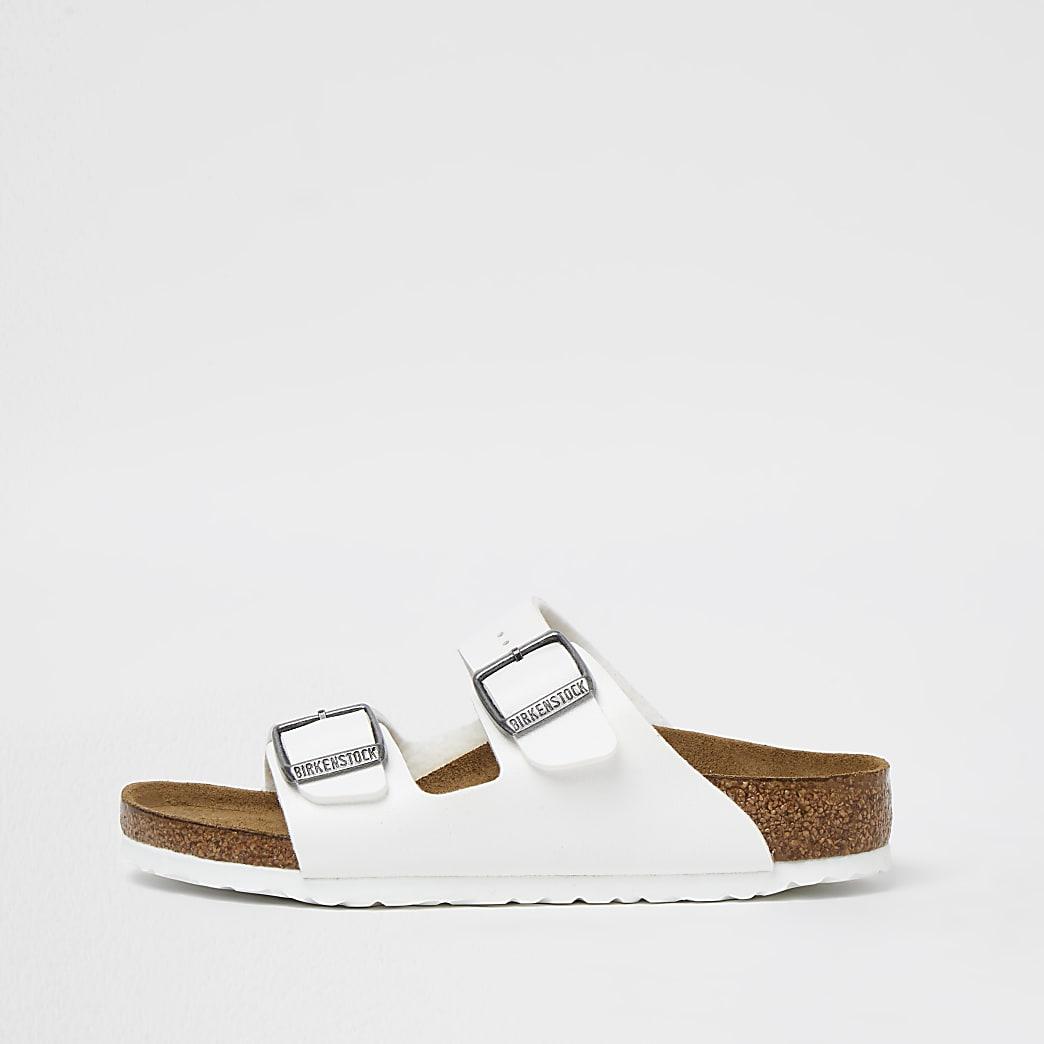Girls white Birkenstock double strap sandals