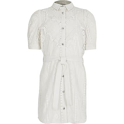 Girls white borderie tie belted shirt dress