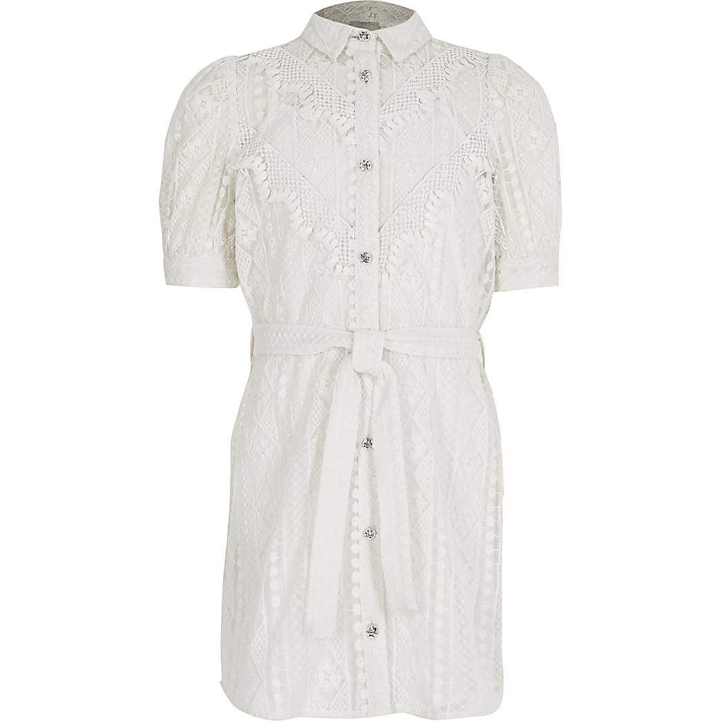 Girls white borderie tie belted shirt dress