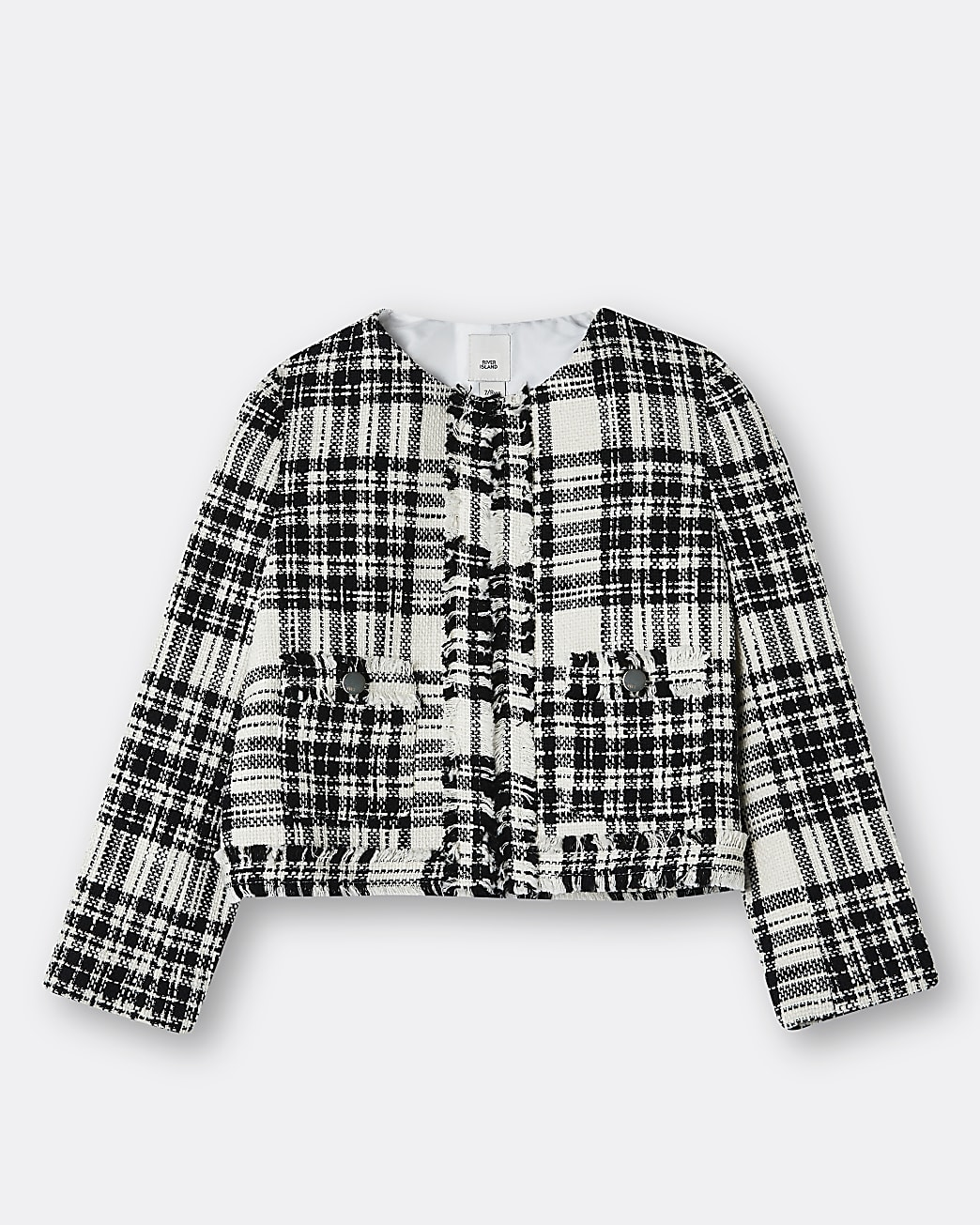 Girls white boucle jacket