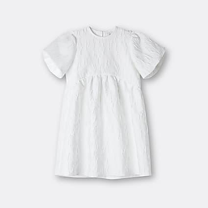 Girls white bow back dress