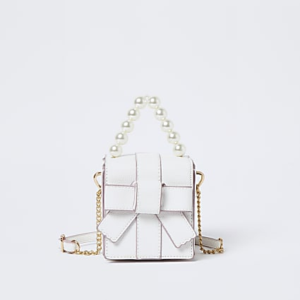 Girls white bow box bag