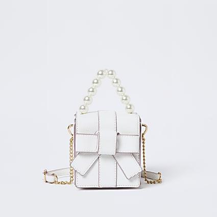 Girls white bow box bag