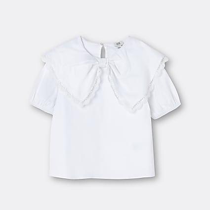 Girls white bow collar blouse top