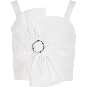 Witte cropped top met verfraaide strik voor meisjes