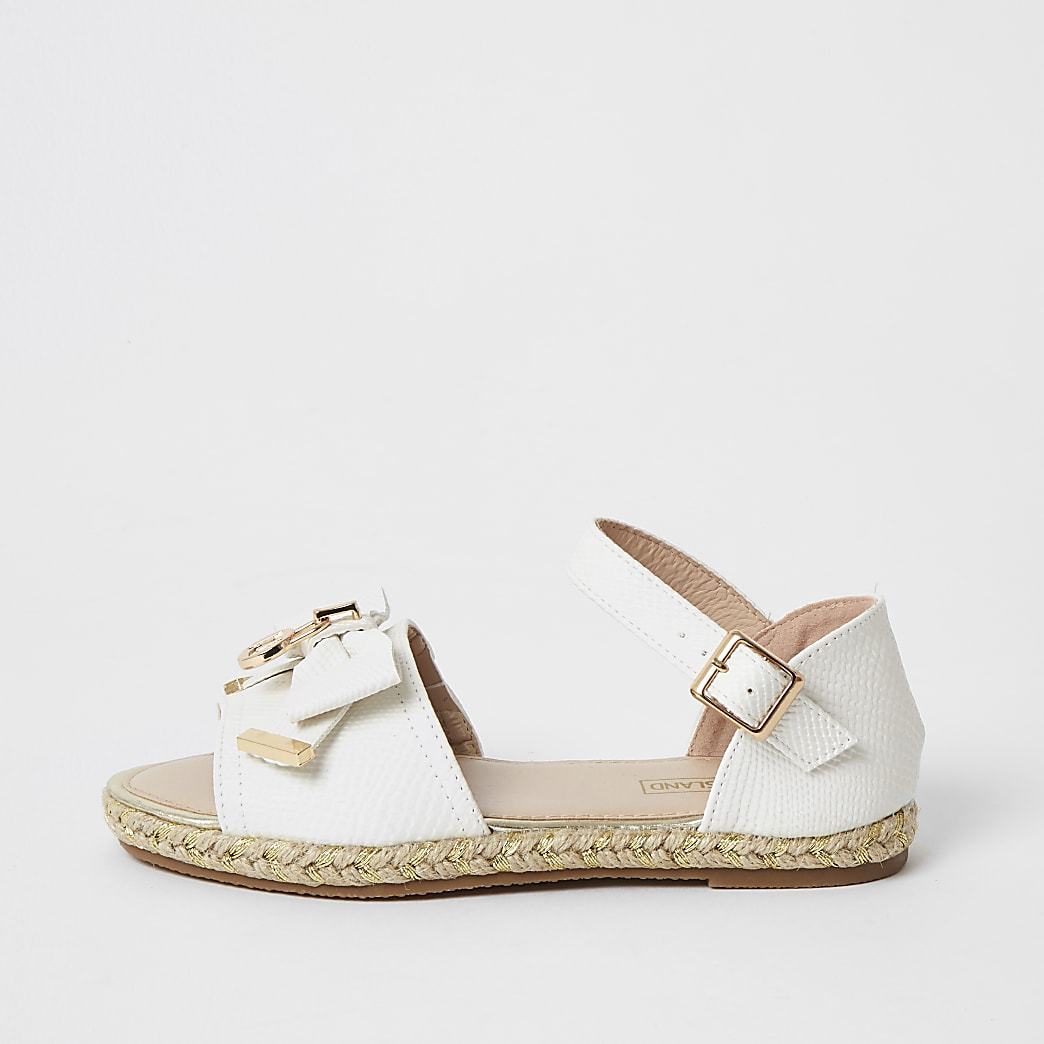 Girls white bow espadrille sandals