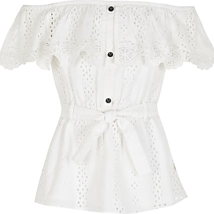 Girls white broderie bardot tie belted top