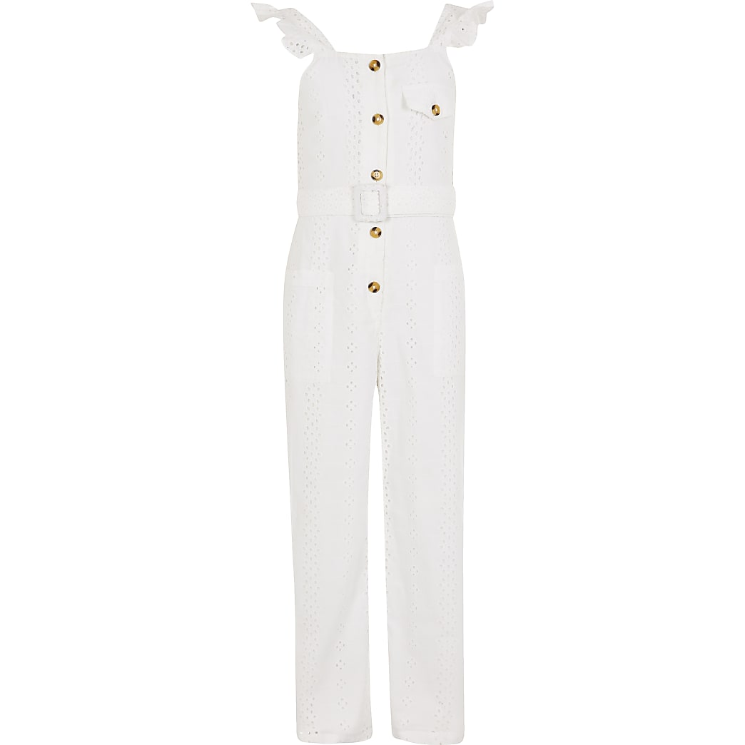 Girls white broderie belted frill jumpsuit