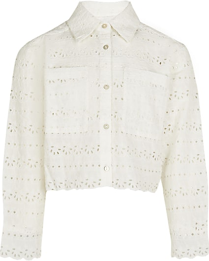 Girls white broderie cropped shacket