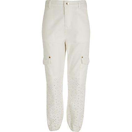 Girls white broderie denim trousers