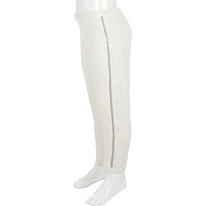 Girls white broderie diamante joggers
