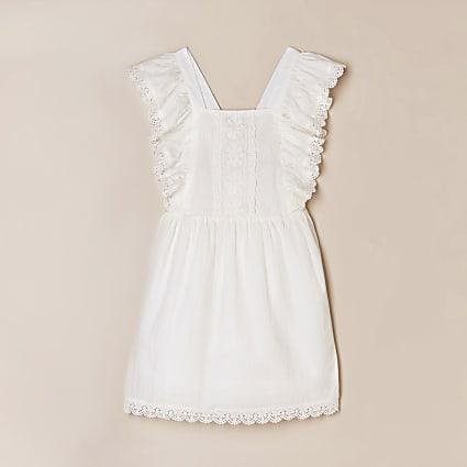 Girls white broderie dress