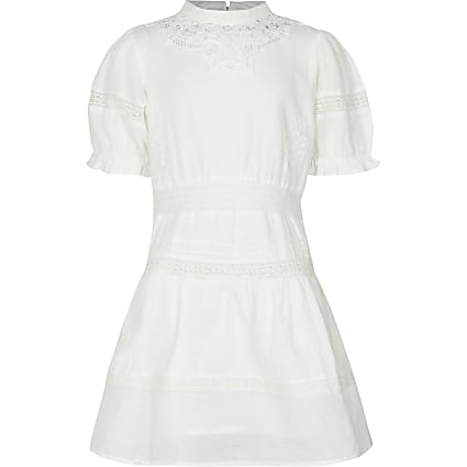 Girls white broderie dress