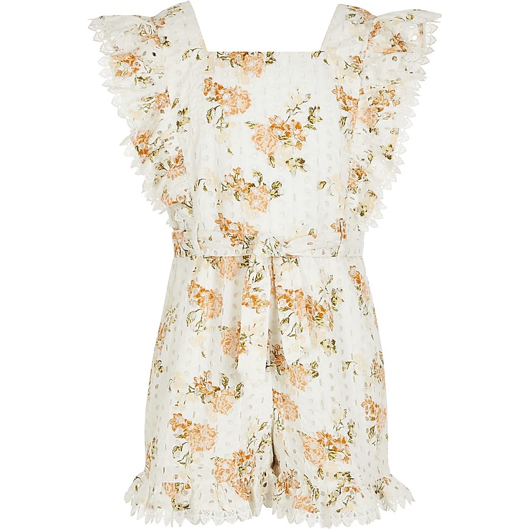 Girls white broderie floral print playsuit