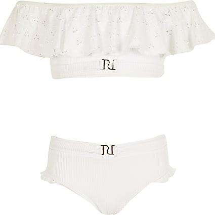 Girls white broderie frill bikini set