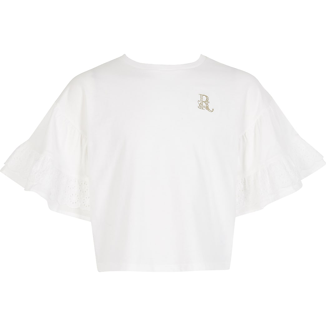 Girls white broderie frill cropped T-shirt