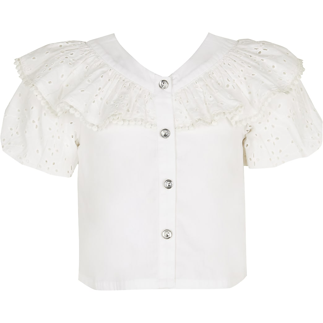 Girls white broderie frill shirt
