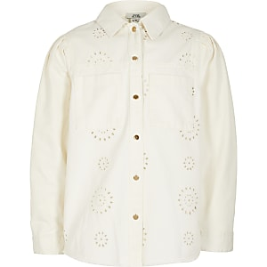Veste chemise en broderie anglaiseà manches longues blanche pour fille