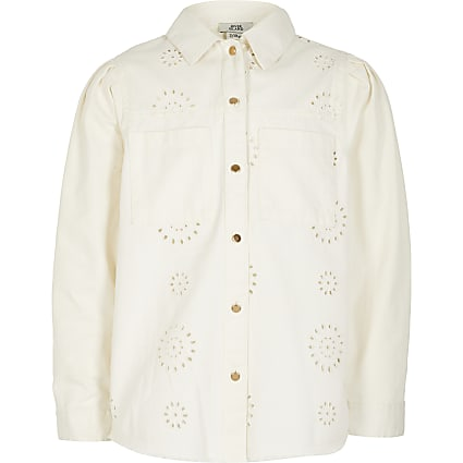 Girls white broderie long sleeve shacket