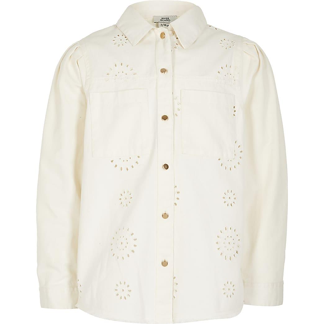 Wit geborduurd shacket met lange mouwen voor meisjes