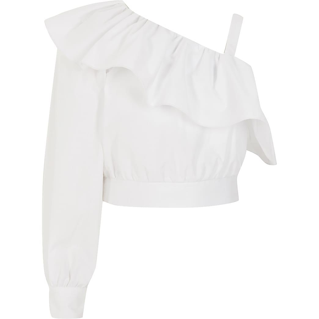 Witte cropped top met borduurwerk en ontblote schouder voor meisjes