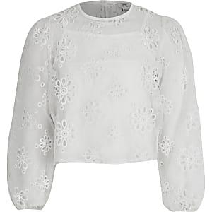 Girls white broderie organza crop top