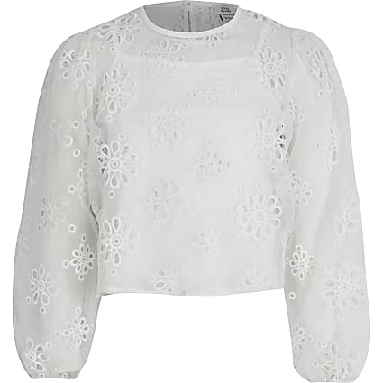 Girls white broderie organza crop top