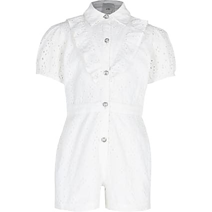 Girls white broderie playsuit