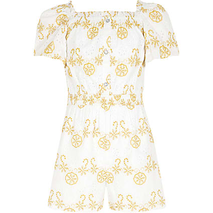 Girls white broderie puff sleeve playsuit