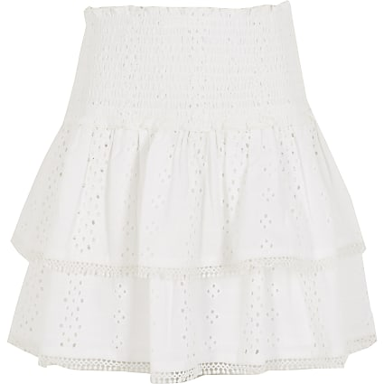 Girls white broderie rara skirt