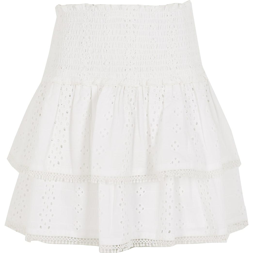 Girls white broderie rara skirt