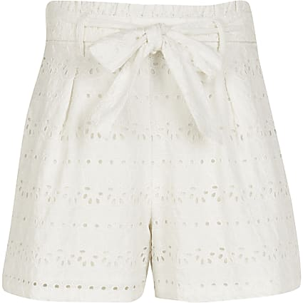 Girls white broderie shorts