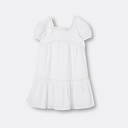 Girls white broderie smock dress
