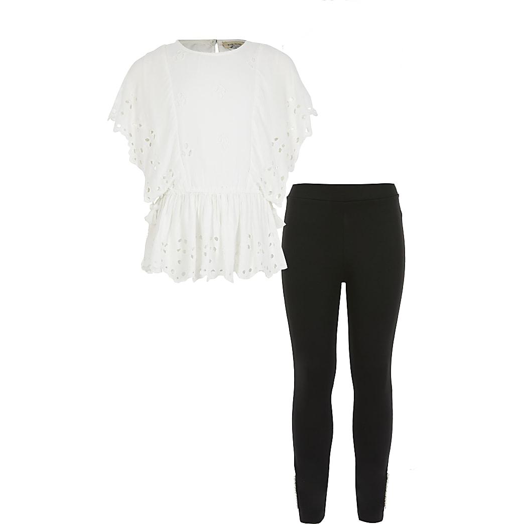 Witte outfit met joggingbroek en broderie top voor meisjes