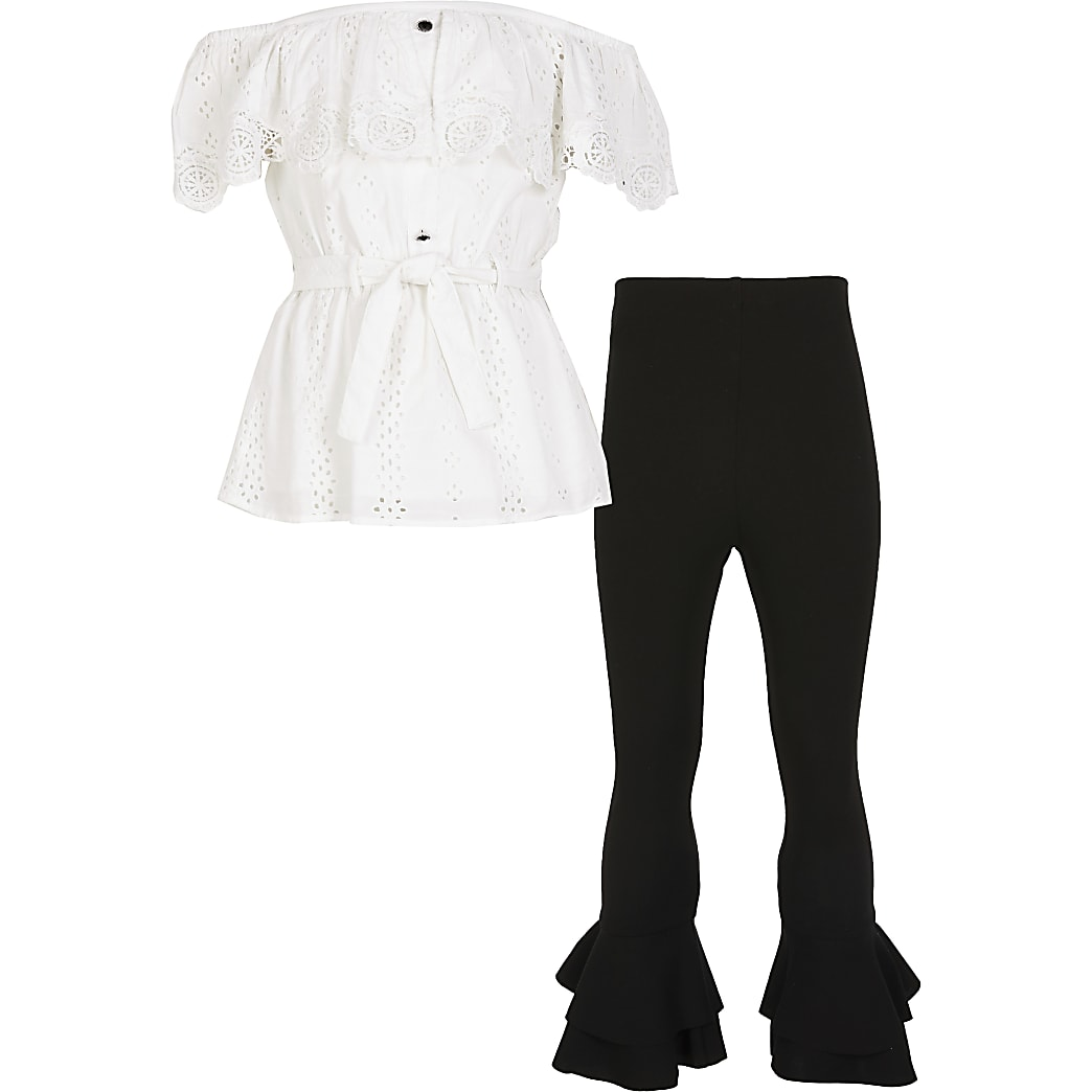 Girls white broiderie bardot outfit